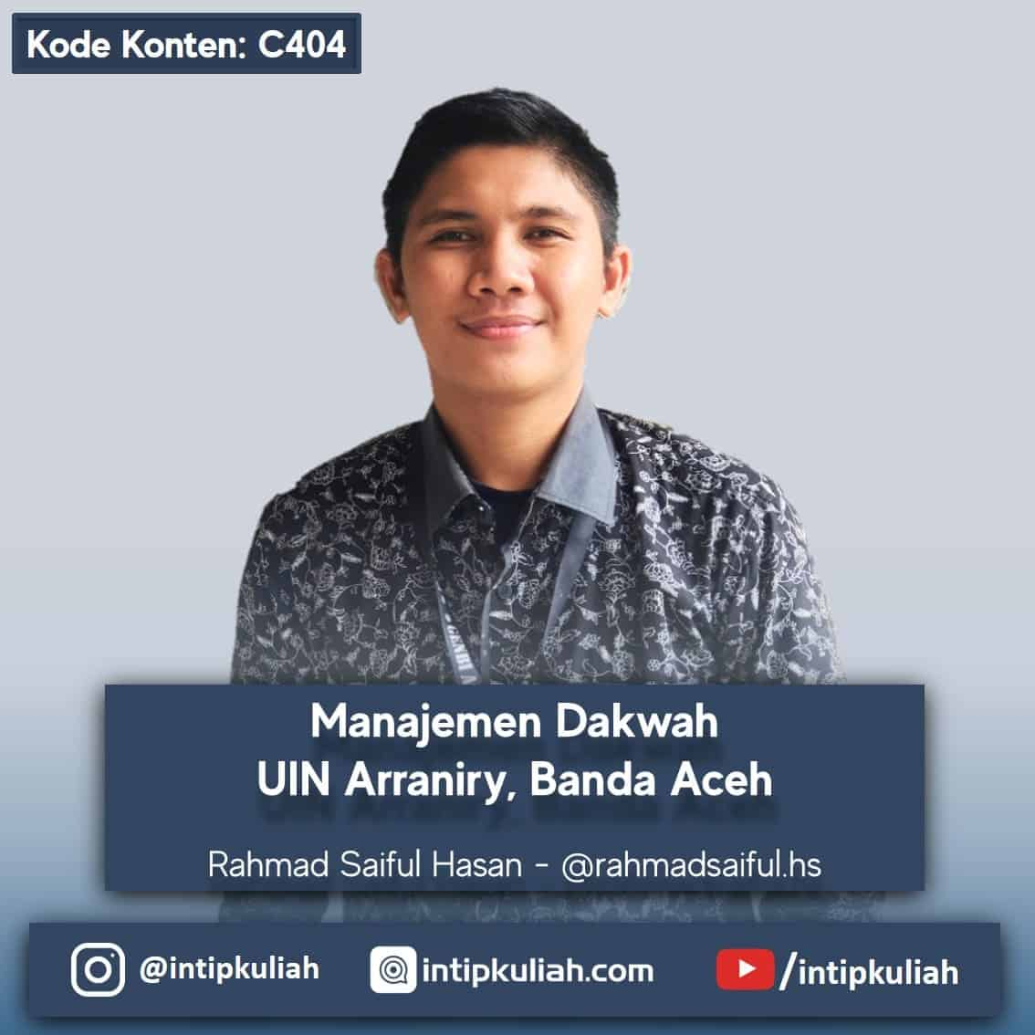 Manajemen Dakwah UIN Arraniry (Rahmad)
